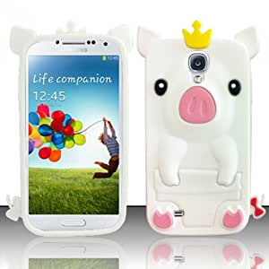 For Samsung Galaxy S4 i9500 - Pig 3D Silicon Skin Case - White SCPIG