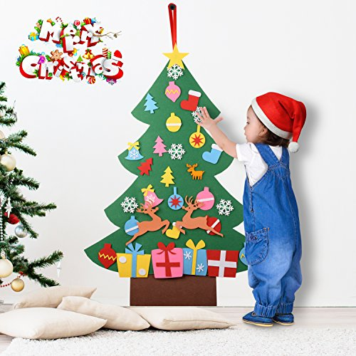 iChefer 3Ft Felt Christmas Tree, 31 Detachable Christmas Ornaments Wall Decor Door Hanging Christmas Tree Set for Kids Boys Girls Xmas Gifts New Year Home Decorations (Crackers 2 Christmas)