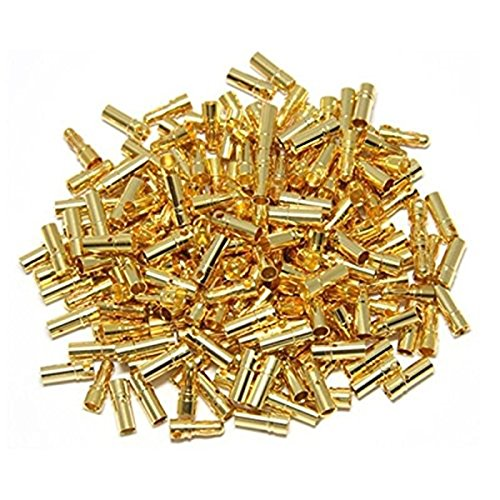 powerday 50pairs 3.5mm Gold Bullet Connector Male/Female Plug for Battery ESC Motor ()