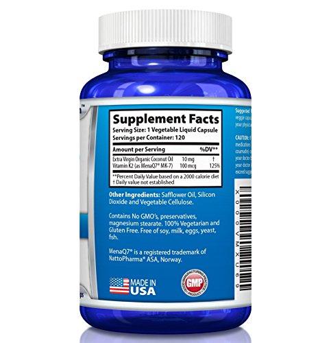 Vitamin K2 MK7 MenaQ7 and Organic Coconut Oil for Superior Absorption 120 Soy Free Non GMO Vegetarian Liquid Caps 100 mcg.