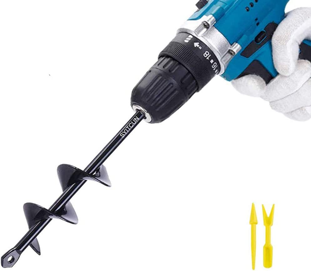 1.6 x 9 Garden Auger Spiral Drill Bit Rapid Planter for Planting Bulb Seedlings /& Bedding 1.6 x 9 Auger Drill Bit Earth Auger Bit Post or Umbrella Hole Digger for 3//8 Hex Drive Drill