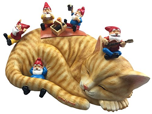 Review By Mark & Margot Outdoor Garden Gnomes Picnic Sleeping Cat Statue – Beautiful Funny Novelty Gift