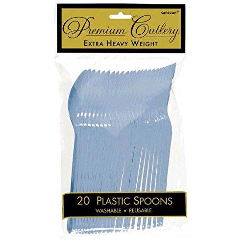 Pack of 24 amscan International Heavyweight Spoons Pastel Blue