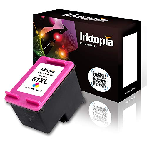 (Inktopia Remanufactured 61XL Ink Cartridge with Ink Level Replacement for Deskjet 1000 1050 1510 2510 2542 3050 3510 Envy 4500 5530 5531 5539 Officejet 2620 2621 4630 4632 4635-1 Tri-Color)