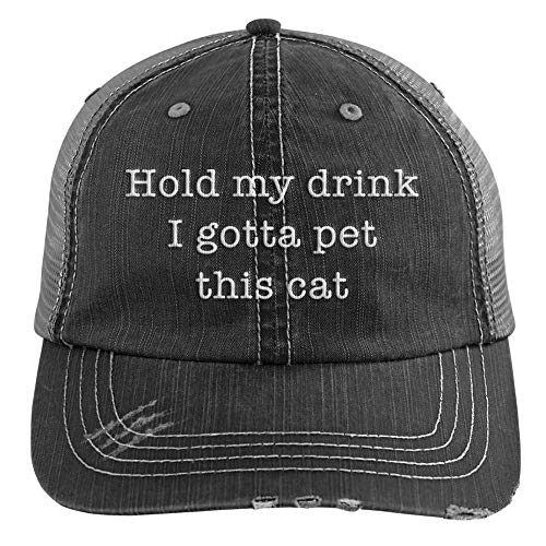 Hold My Drink I Gotta Pet This Cat Embroidered Distressed Trucker Cap Black