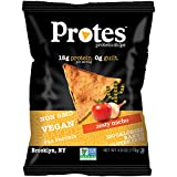 PROTES Vegan Baked Protein Chips   6 Bags (4 oz.)   15G of Protein, 120 Calories & Made with Pea Protein   Non GMO & Gluten Free   (Zesty Nacho)