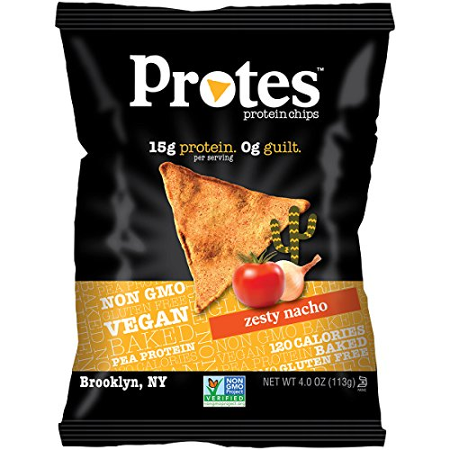 PROTES Vegan Baked Protein Chips | 15G of Protein, 120 Calories & Made with Pea Protein | NON GMO & Gluten Free | 6 Bags (4 oz.) | (Zesty Nacho)