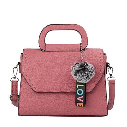 ZKOO Bolsos de Cuero de Imitación Mujeres Bolsas Del Hombro Bolso de Cuerpo Cruzado Tote Bolsas Casual Moda Rosa