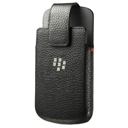 Holster Leather Swivel Holster for Rim BlackBerry Q10 - Retail Packaging - Black (Blackberry Rim Q10)