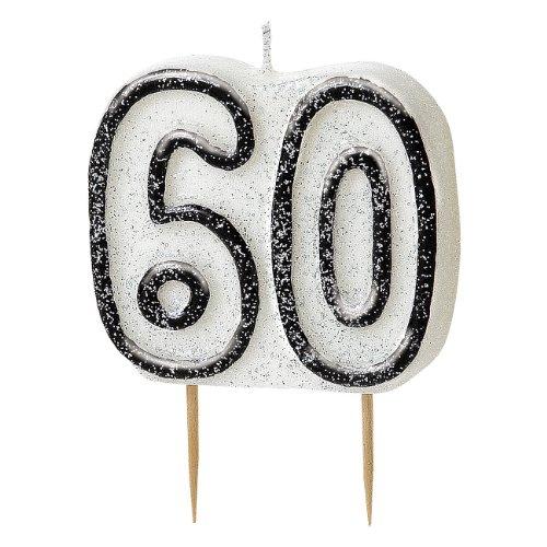 "3.5"" Black Sparkle 60th Birthday Glitter Cake Decoration Molded Candle"