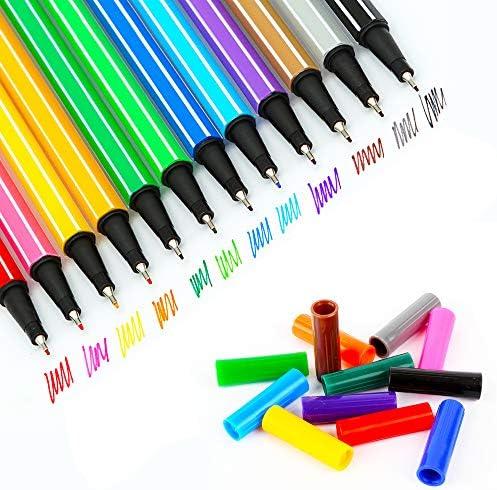 12 قلم تخطيط مجلة ملونة أقلام تحديد دقيقة للرسم والكتابة Amazon Ae