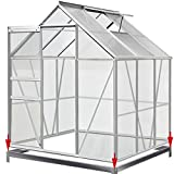 Deuba Polycarbonate Garden Greenhouse Size Choice 6ft x 6ft Base included Clear Walk-In Aluminium Frame w/Slide Door Plants Grow House