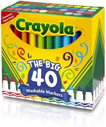 Crayola Ultra-Clean Washable Markers, Broad Line, 40-Count
