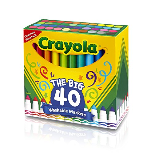 Crayola Ultra-Clean Washable Broad Line Markers, 40-Count