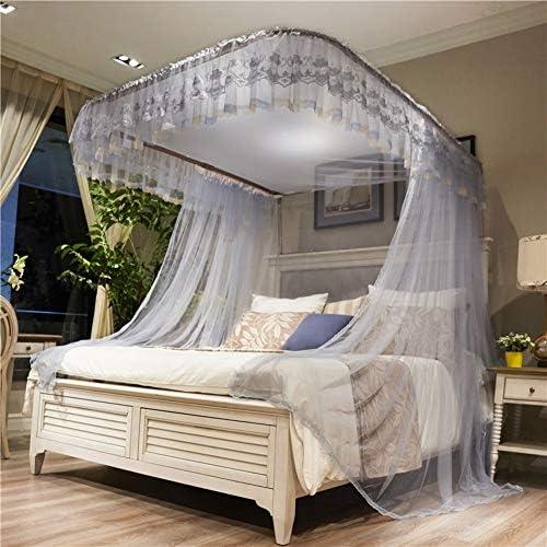 引き込み式ベッドキャノピー,ガイド レール 暗号化糸蚊帳 レース ベッドキャノピー の-形 ダブルベッド用ベッドカーテン-グレー