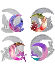 Crescents Moon Molds, Silicone Epoxy Resin Molds, 4Pcs Resin Molds for Making Moon Wolf, Moon Cat, Moon Angel, Moon Reindeer Mold, Moon Wall Hanging for Home Decorations, Gift Idea for Holidays