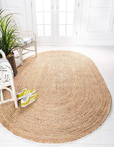 Unique Loom Braided Jute Collection Hand Woven Natural Fibers Natural Oval Rug (3' 3 x 5' 0) ()