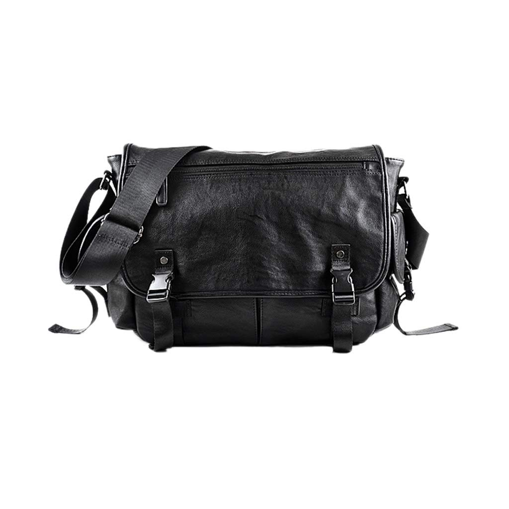 Color : Black, Size : 40 x 12 x 28cm Kmgjc Leather Handbag Mens Fashionable Leisure Shoulder Messenger Bag