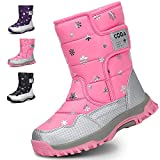 MEAYOU Girls Boys Toddler Snow Winter Boots Outdoor Waterproof with Fur Lining Pink 10.5M US Little Kid/EU 28