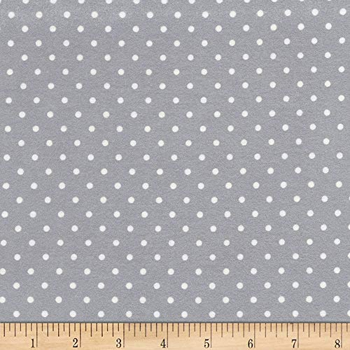 Timeless Treasures Little Star Flannel Polka Dot Grey Fabric by The Yard