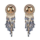 New Fashion Handmade Crystals Feather Tassels Statement Earrings For Women Gold Plated (F)