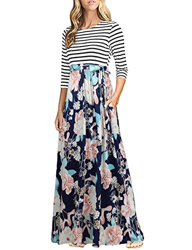 HNNATTA Dress for Women with Pockets, 2019 Boutique Ladies Color Block Striped Flower Print Tie Slim Waist Fit and Flare Dress ()