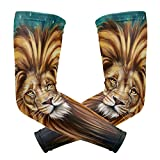 Wamika Arm Sleeve for Men Women Patriotic Lion UV Protection Cooling Long Sports Compression Cover Arms Tattoo Sleeves Perfect for Baseball Football Basketball Running - 1 Pair