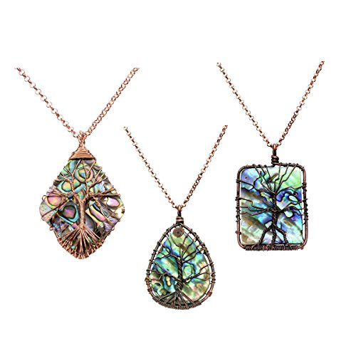 (QGEM Tree of Life Charms Pendant Necklace with Chain 24