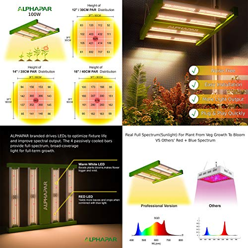 Hydro Plus AlphaPar Grow Tent Kit Complete 100W LED Grow Light+24''x24''x48'' Grow Tent+4'' Filter Fan Ventilation Combo Hydroponic Indoor Growing System(LED 100W-P, 24''x24''x48'' Kit)