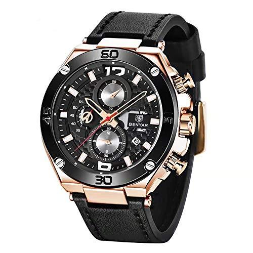 🥇 BENYAR Hombres Reloj cronógrafo de Cuarzo Fecha 3 ATM Impermeable Relojes Economía Deportes Cuero de diseño de Reloj de Pulsera para Hombres Padre…