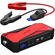 DBPOWER 600A Peak 18000mAh Portable Car Jump Starter (up to 6.5L Gas/ 5.2L Diesel Engine) Power Pack Battery Booster, Power Bank with Smart Charging Port, Compass, LCD Screen & LED Flashlight (Red)