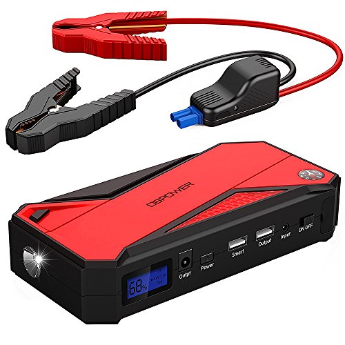 DBPOWER 600A Peak 18000mAh Portable Car Jump Starter (up to 6.5L Gas, 5.2L Diesel Engine) Battery Booster Phone Power Bank with Smart Charging Port, Compass & LCD Screen and LED Light