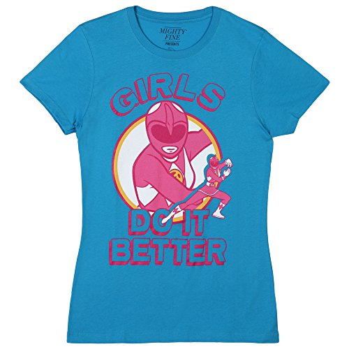 Power Rangers Girls Do It Better Juniors T-Shirt - Turqoise (Small)