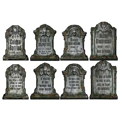 Halloween Tombstone Cutouts Assortment 4/Pkg, (Halloween Tomb Stones)