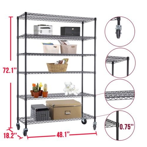 72''x48''x18'' Heavy Duty 6 Tier Layer Wire Shelving Rack Steel Shelf Adjustable by Balance World Inc