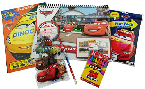 "Disney Pixar Cars Bundle: 5 Items SandyLion Stickerland Fun Pad with 830 Stickers, Color and Pay Come to life ""Dinoco"" Coloring Book, Play Pack, Cars Stationary kit and box of 24 CraZart Crayons"