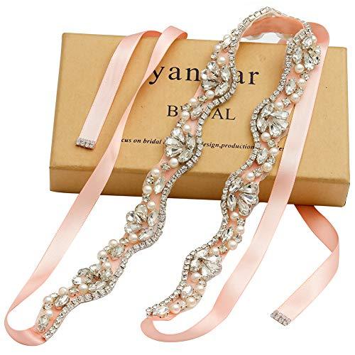 Yanstar Hand Silver Rhinestone Crystal Pearls Wedding Bridal Belts With Blush Ribbon Sashes For Bridal Bridesmaid Gowns