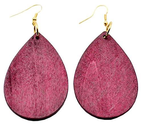 StylesILove Womens Girls Fashion Teardrop Shaped Wood Dangle Earrings (Carmine)
