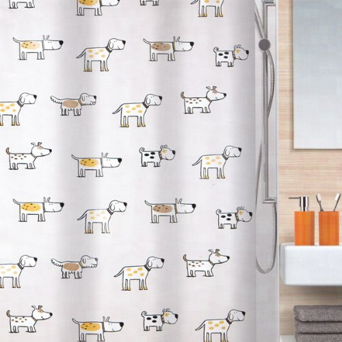 Spirella Cartoon Dog Waterproof PEVA Shower Curtain, Swiss Design Pet Shower Curtain, 180cm*200cm, Yellow