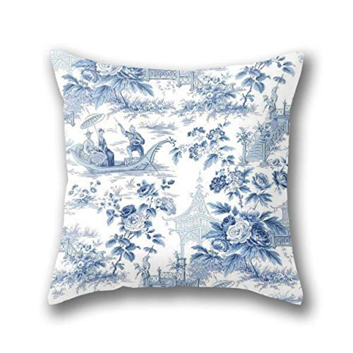 Rdkekxoel Powder Blue Chinoiserie Toile Pillow Cover Standard Throw Pillowcase 18X18 ()