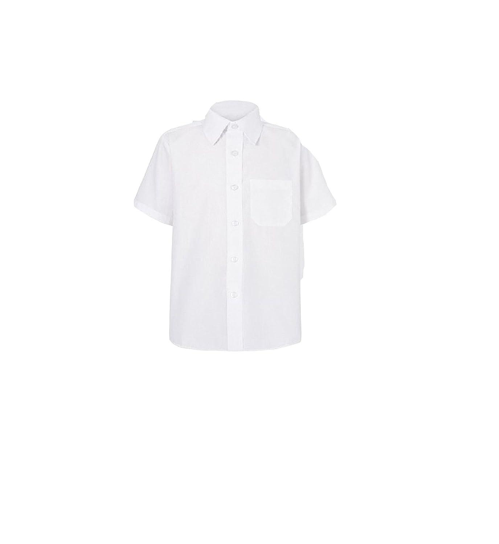 Short Sleeve 13 Collar, White UNI School Boys Mens Plain Blue White School Uniform Shirt Long and Short Sleeves