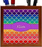 Rikki Knight Faith Name on Rainbow Scallop Design 5-Inch Tile Wooden Tile Pen Holder (RK-PH45636)