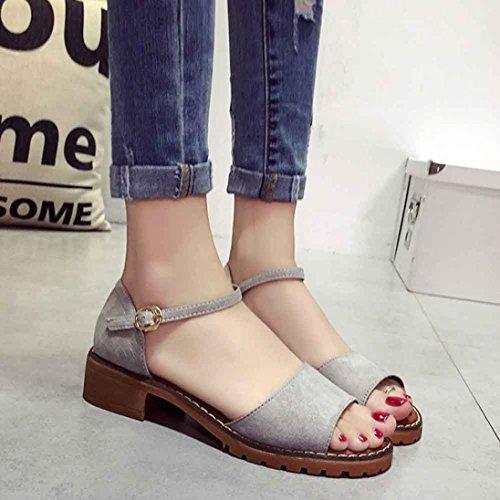 Cooljun Frauen Sommer Lady Sandalen Süße Flache Schuhe Bequeme Strand Flip Flops Sandalen Gray