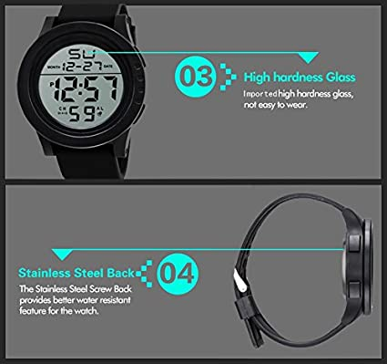 Amazon.com: Digital Watch for Men, DYTA Sport Watches 5 ATM Waterproof Outdoor LED Digital Watch Military Rubber Wrist Watch Strap with Alarm Analog Quartz ...