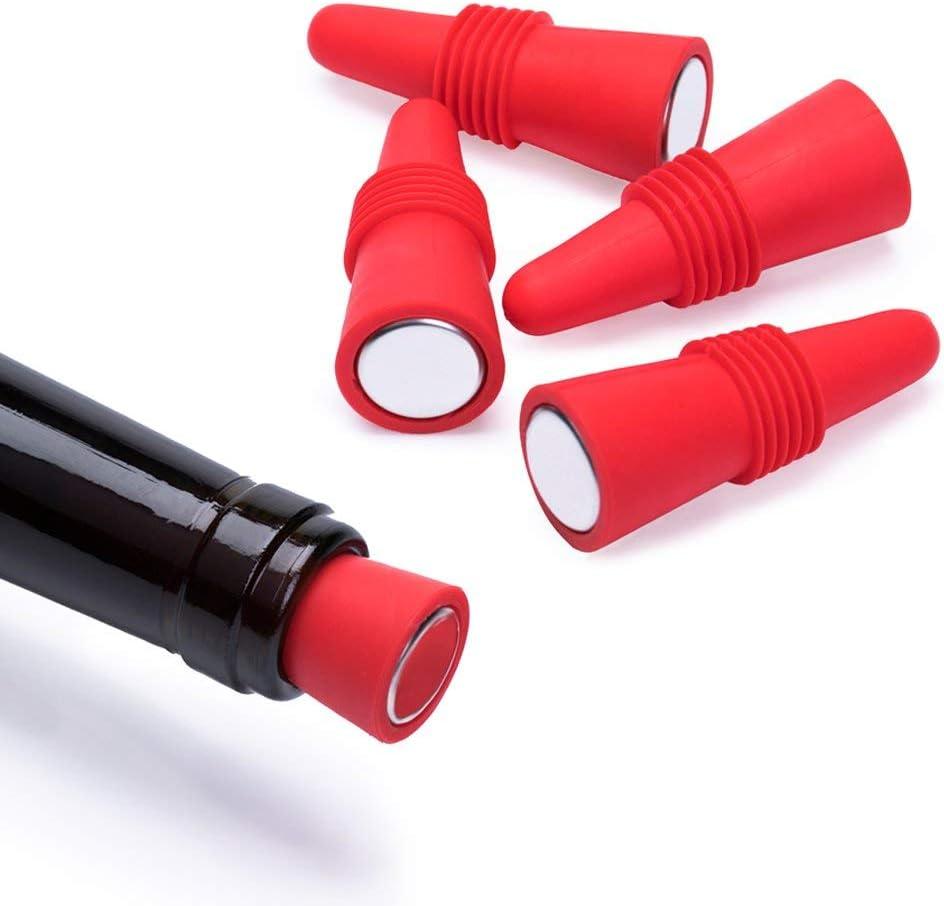Rouge Ohyoho Lot de 5/bouchons /à vin en silicone R/éutilisable Bouchon de bouteille de vin et boissons Bouchons Ensemble