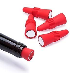 OHMAXHO Wine Stoppers (Set of 5), Silicone Wine Bottle stopper and Beverage Bottle Stoppers, Red
