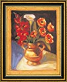 """Framed Canvas Print Wall Art Poppy and Calla Lily by Sarah Waldron - 16"""" x 20"""" Ready to Hang"""