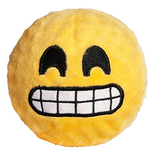 Image of fabdog Grinning Emoji faball Squeaky Dog Toy (Small)