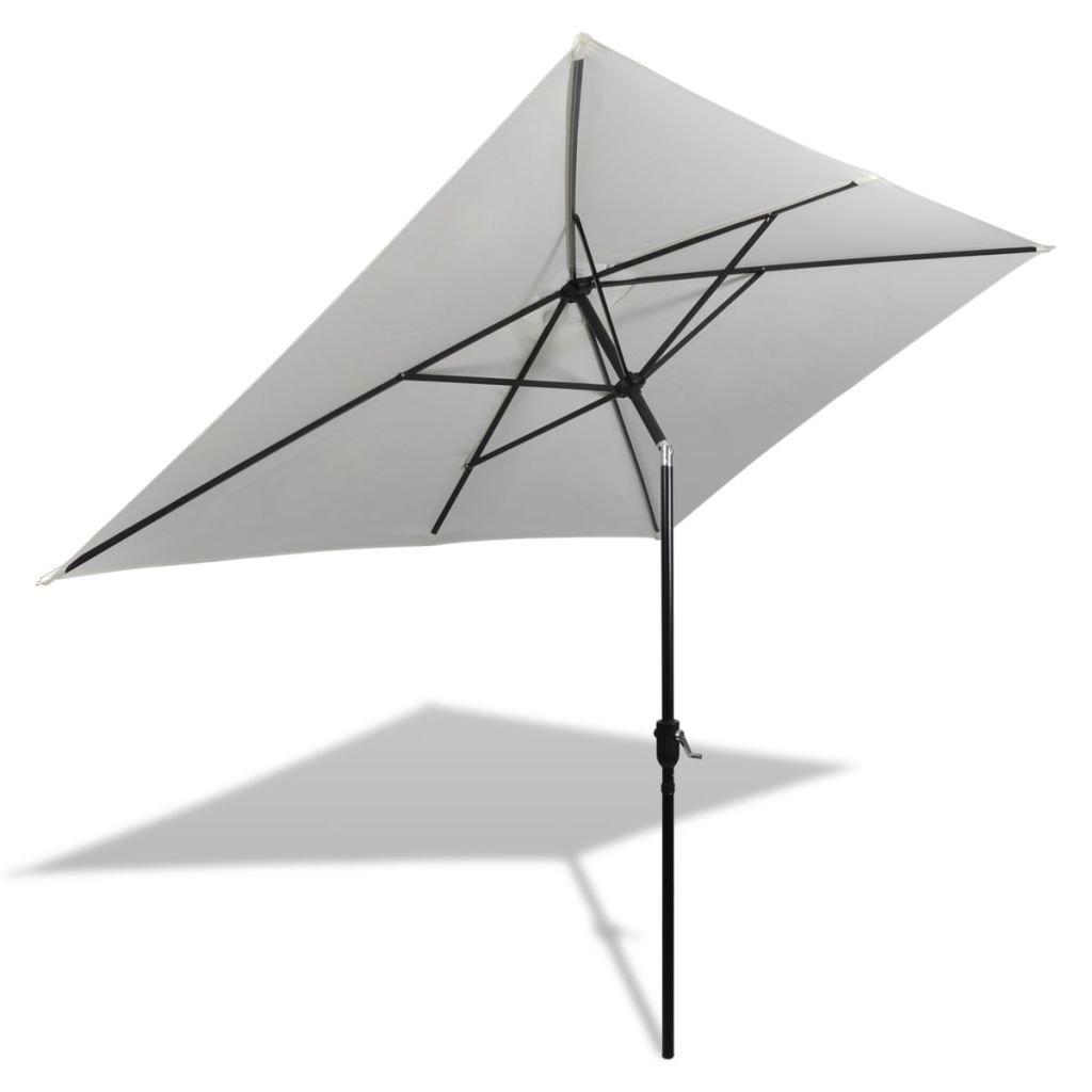 Festnight Parasol de Jardin en Acier Terrasse Balcon Blanc 200 x 300 cm