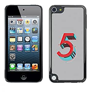 Planetar® ( 5 Birthday Number Retro Five Teal ) Apple iPod Touch 5 Fundas Cover Cubre Hard Case Cover